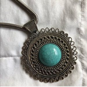 💕2 for $10💕 Turquoise Pendant Silver Necklace